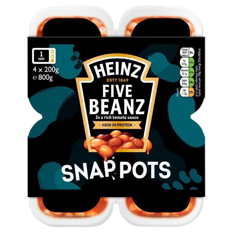 Heinz Snap Pots Five Baked Beans 4pk (4 x 200g)