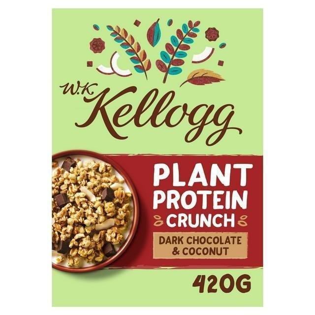 Kellogg's WK Plant Protein Crunch Dark Chocolate 420g NEW