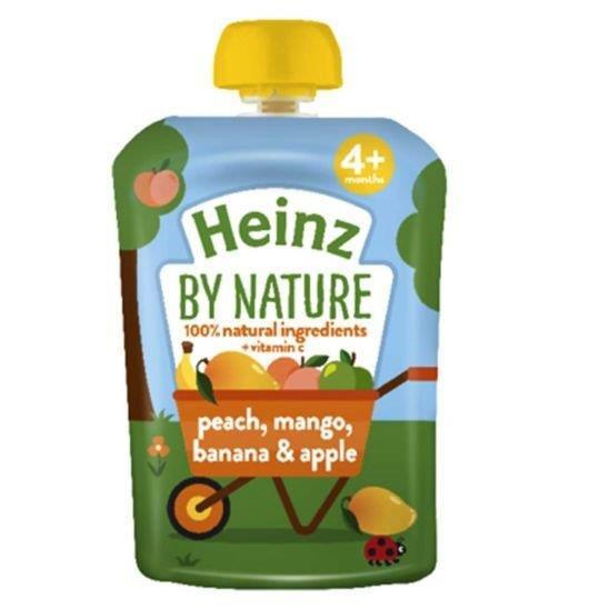 Heinz Pouch 4m+ 4pk Peach, Mango & Banana (4 x 100g)