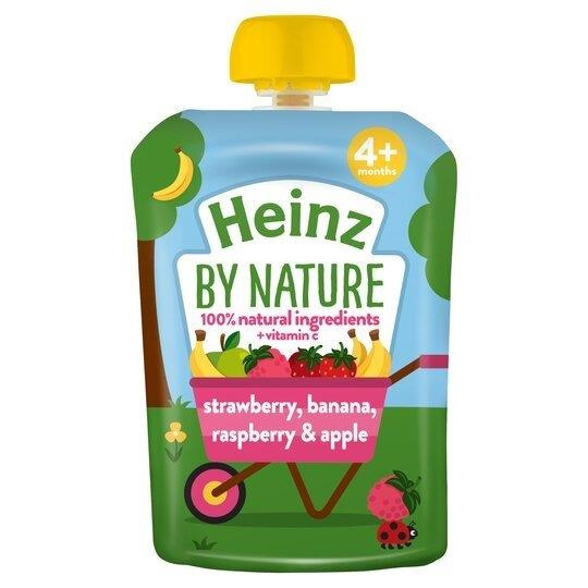 Heinz Pouch 4m+ 4pk Strawberry, Banana, Raspberry & Apple (4 x 100g)