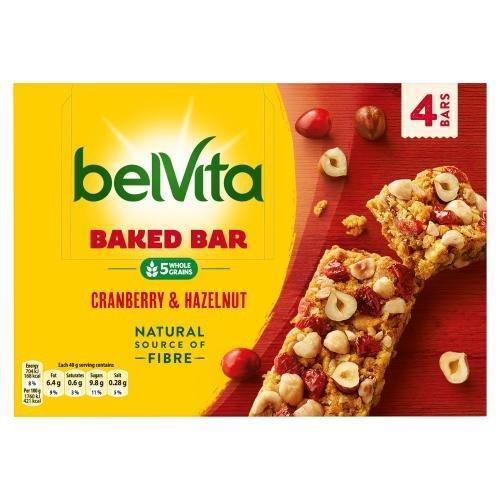Belvita Cranberry & Hazelnut Baked Bar 4pk (4 x 40g) NEW