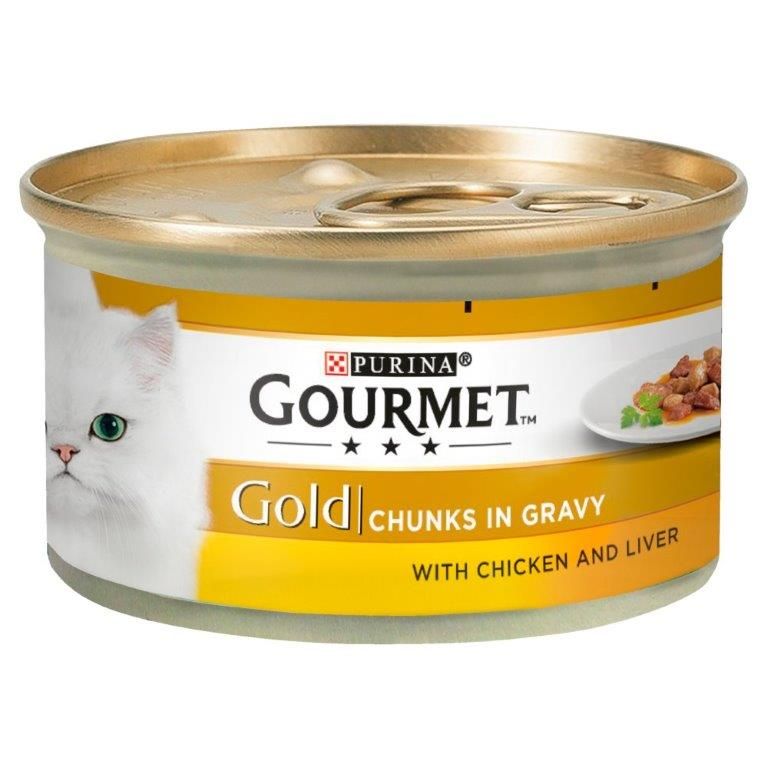 Gourmet Gold Chunks In Gracy With Chicken & Liver 85g