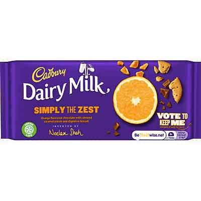 Cadbury Dairy Milk Simple The Zest 110g