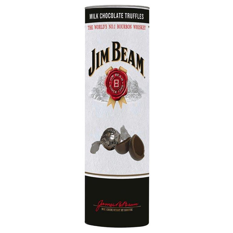 Jim Beam Flavoured Belgian Milk Chocolate Truffles In Gift Tube 200g (Contains Alcohol)