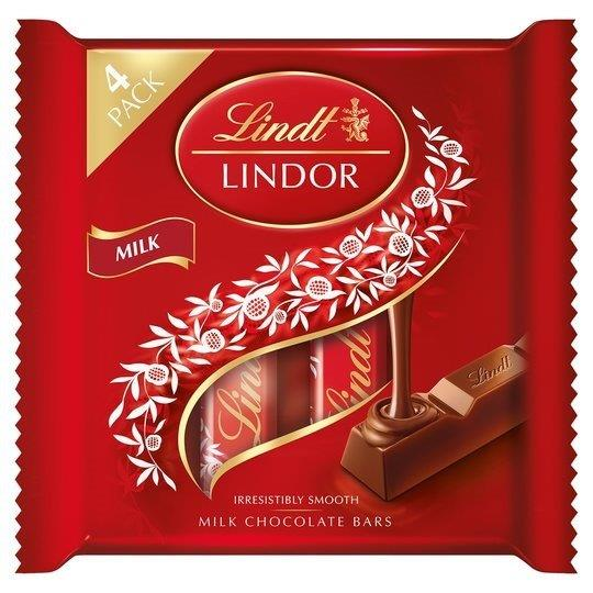 Lindor Milk Chocolate Bars 4pk (4 x 25g)