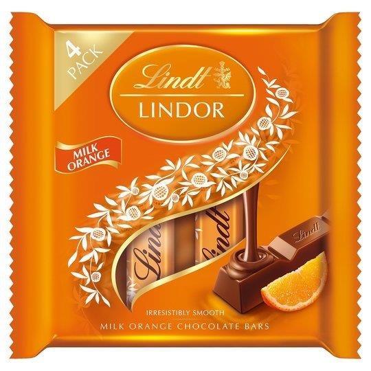 DUPLICATE Lindor Milk Orange Chocolate Bars 4pk (4 x 25g)