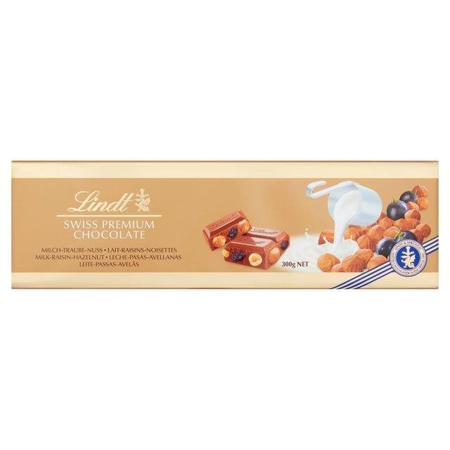 Lindt Gold Bar Hazelnut & Raisin 300g