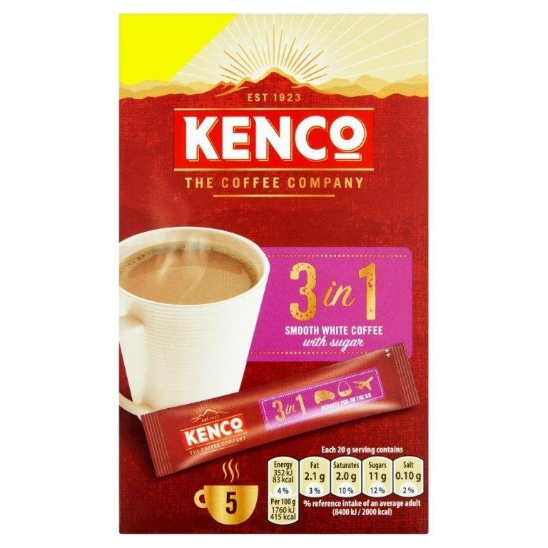 Kenco 3 in 1 Smooth White Instant Coffee 5's (5 x 20g) PM £1