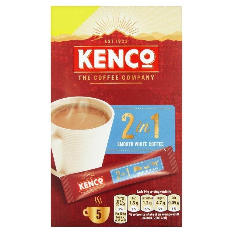 Kenco 2 in 1 Smooth White Instant Coffee 5's (5 x 14g) PM £1