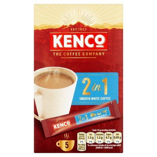 Kenco 2 in 1 Smooth White Instant Coffee 5's (5 x 14g)