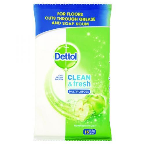 Dettol Floor Wipes Green Apple 15's