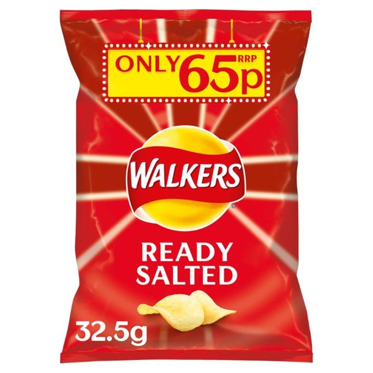 Walkers Crisps Ready Salted 32.5g PM 65p