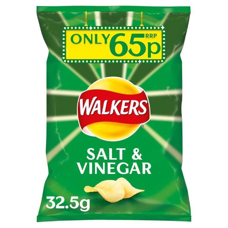 Walkers Crisps Salt & Vinegar 32.5g PM 65p