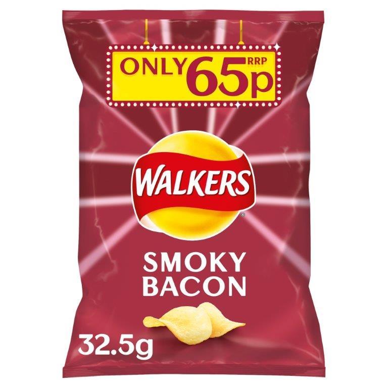 Walkers Crisps Smoky Bacon 32.5g PM 65p