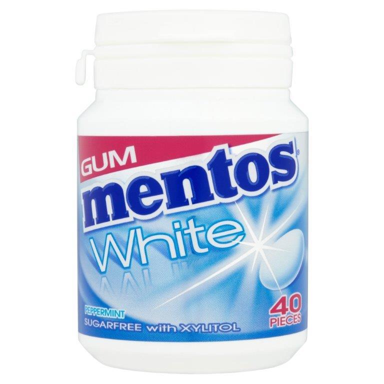 Mentos White Gum Bottle 40's Peppermint 60g