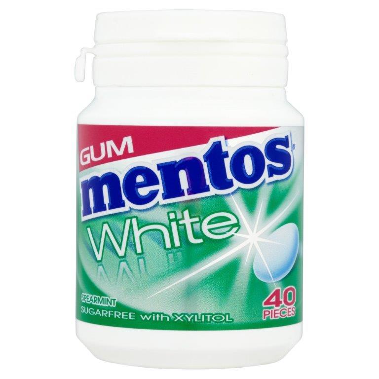 Mentos White Gum Bottle 40's Spearmint 60g