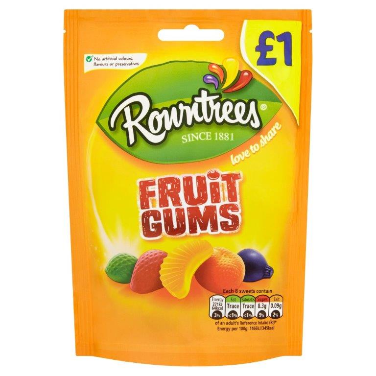 Rowntrees Pouch Fruit Gums 120g PM £1