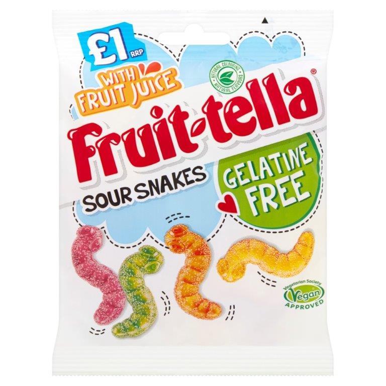 Fruittella Vegan/Gelatine Free Snakes Bag 100g PM £1