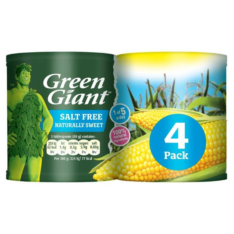 Green Giant Sweetcorn Salt Free 4pk (4 x 198g)